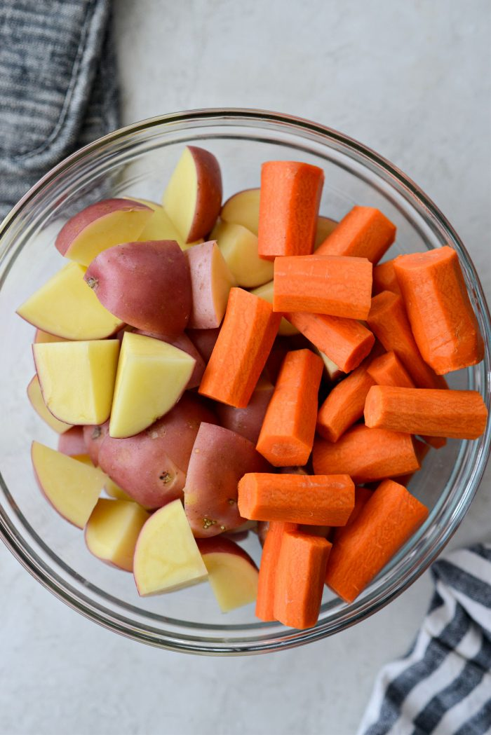 prepped carrots and potatoes