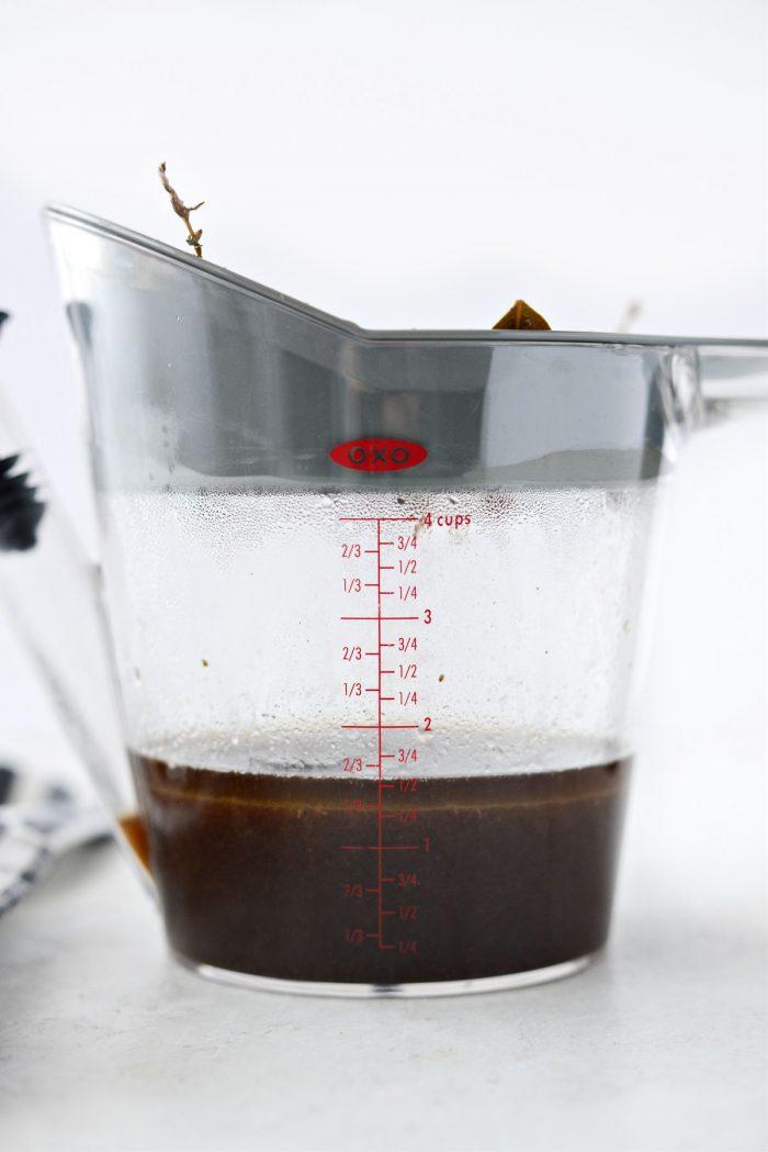 liquids from pan.