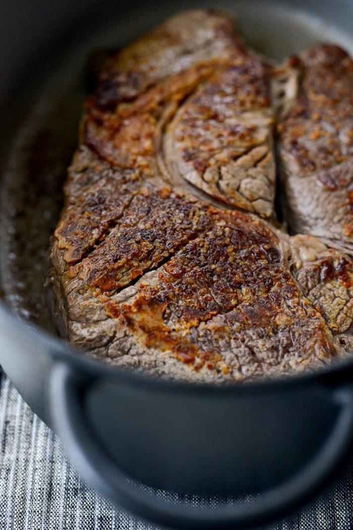 seared beef.