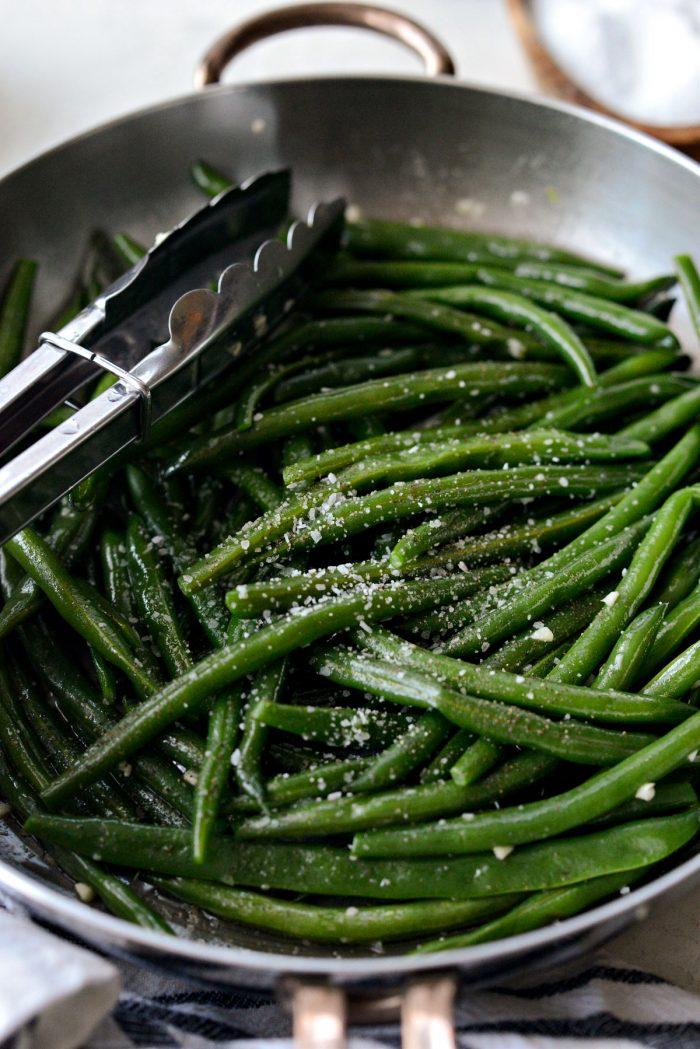 green beans seasoned with kosher salt and black pepper.
