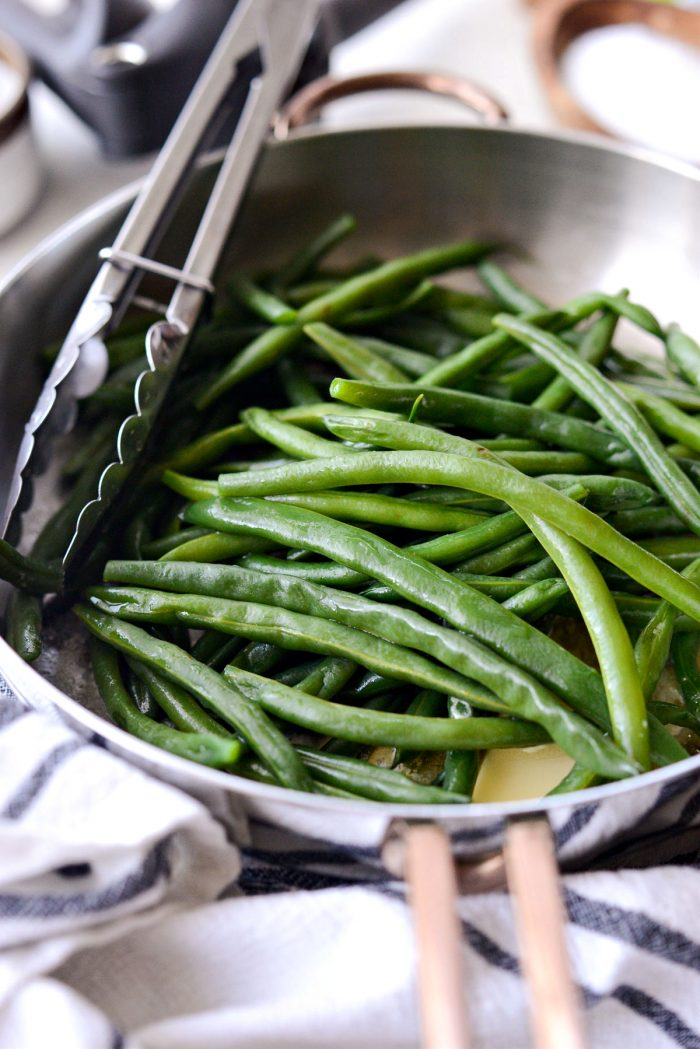 blanched green beans tossed in butter.