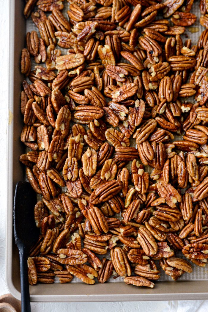 spread pecans evenly and bake