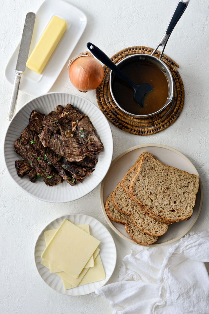 Leftover Pot Roast Cheddar Grilled Cheese Sandwich ingredients