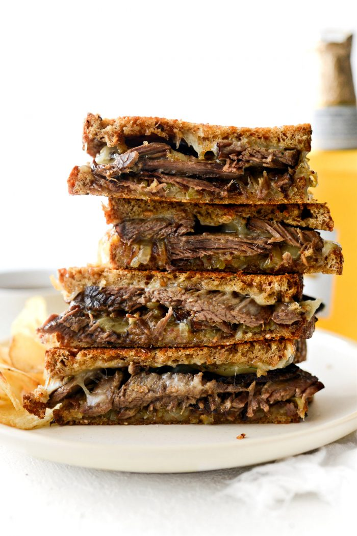 tower of Leftover Pot Roast Cheddar Grilled Cheese Sandwich