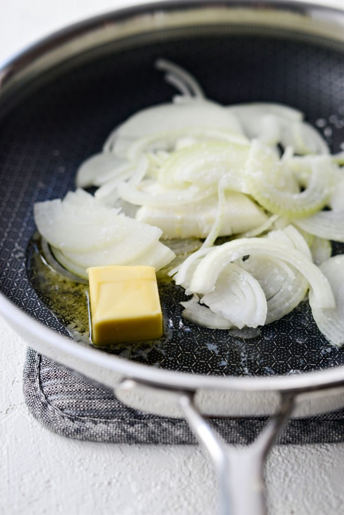 butter, onions and salt in a skillet.