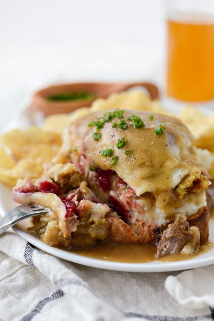 Leftover Thanksgiving Turkey Dinner Melt on white plate.