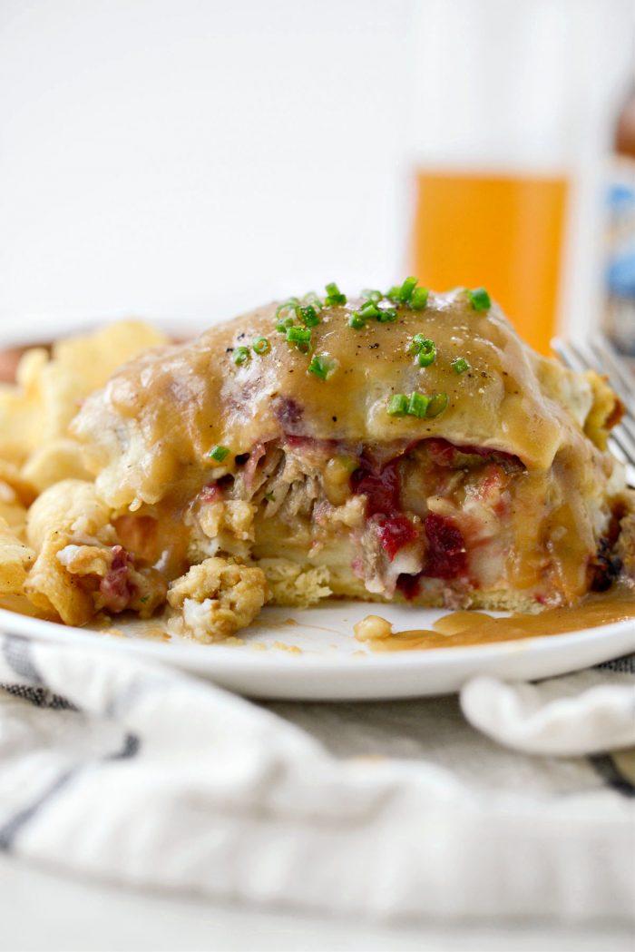 inside shot of Leftover Thanksgiving Turkey Dinner Melt