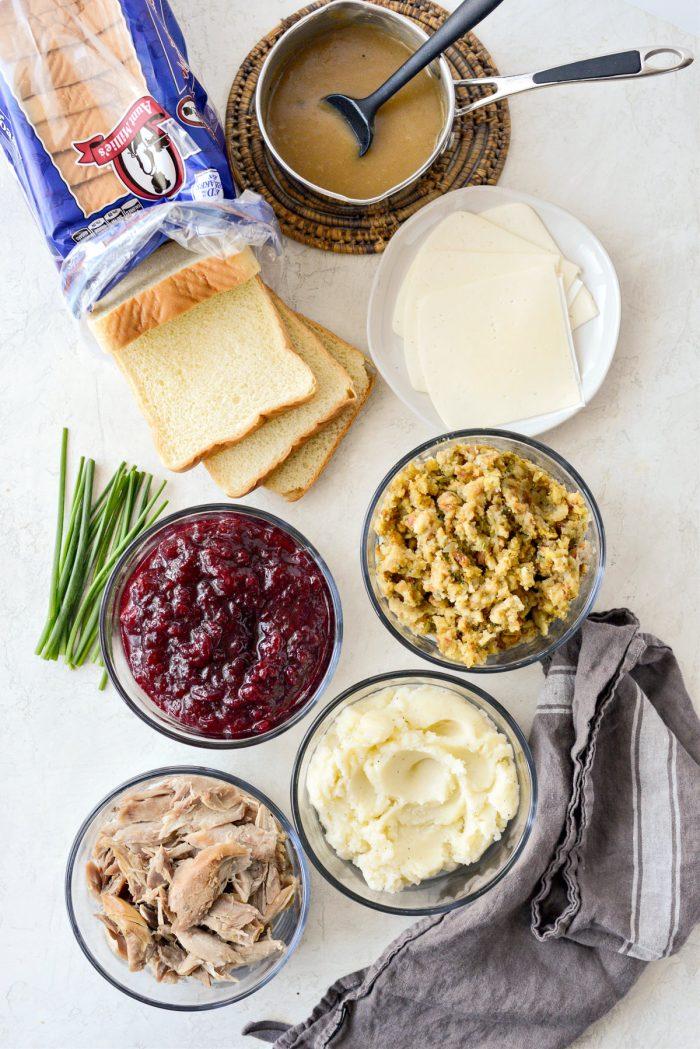 Leftover Thanksgiving Turkey Dinner Melts ingredients