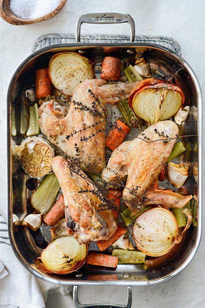 roasted vegetables and turkey.