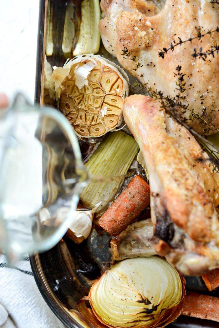 deglaze the pan with white wine.