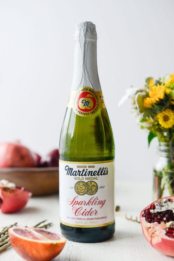 bottle of sparkling apple cider.