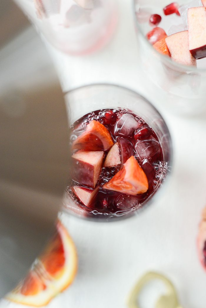 pour in sangria.