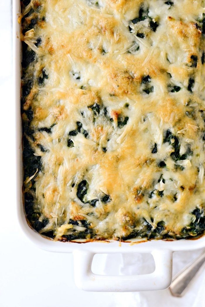 Spinach gratin straight out of the oven.