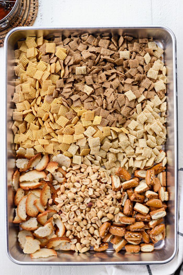 cereal, bagel pieces, pretzels