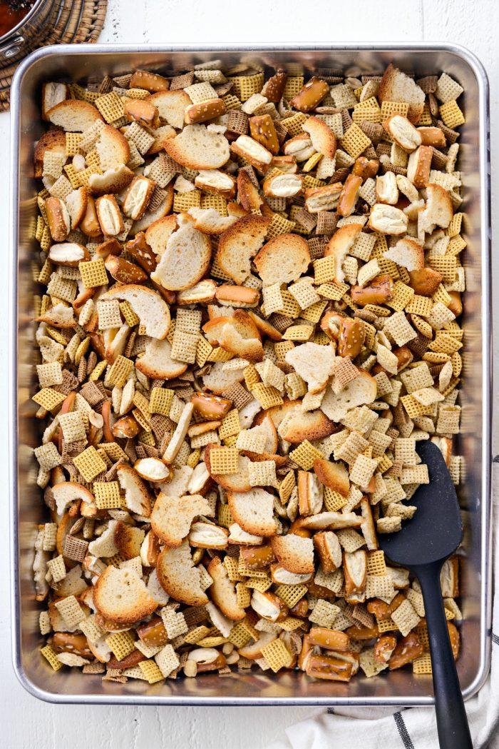ingredients mixed in deep sided roasting pan