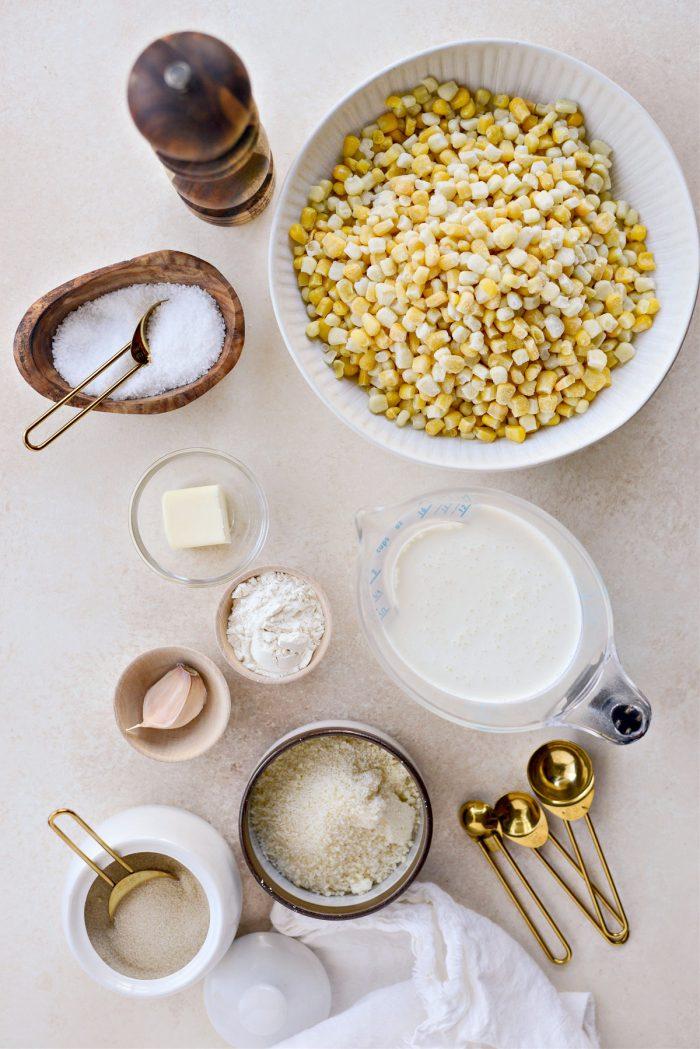 Parmesan Garlic Corn Au Gratin ingredients