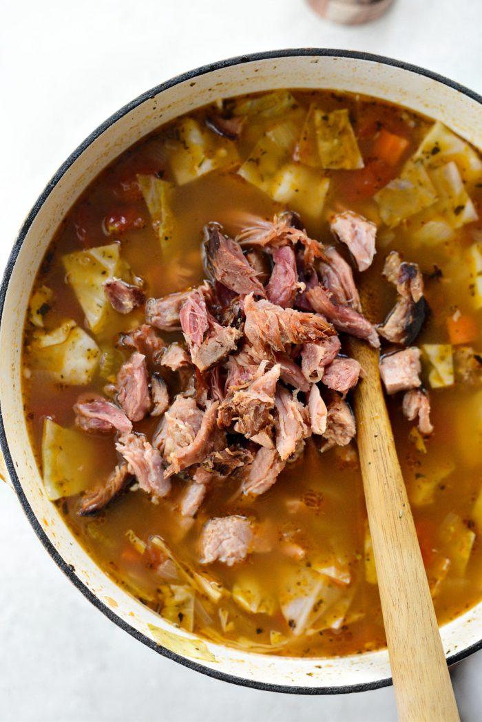 remove ham bone and remove ham and add to souup.