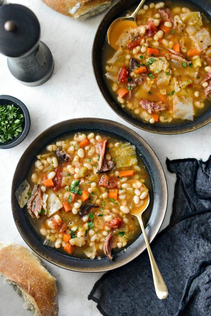 two bowls of Rustic Ham and Bean Soup.