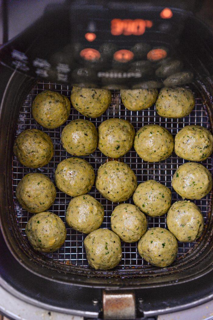 uncooked falafel in food processor