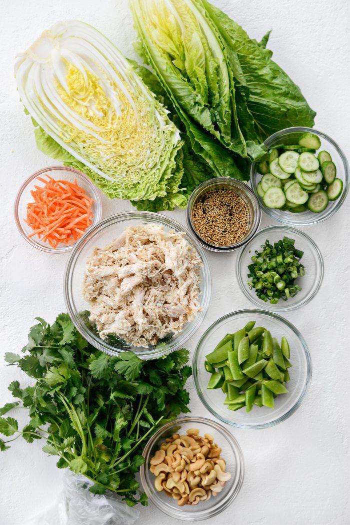 Asian Cashew Chicken Mason Jar Salad ingredients