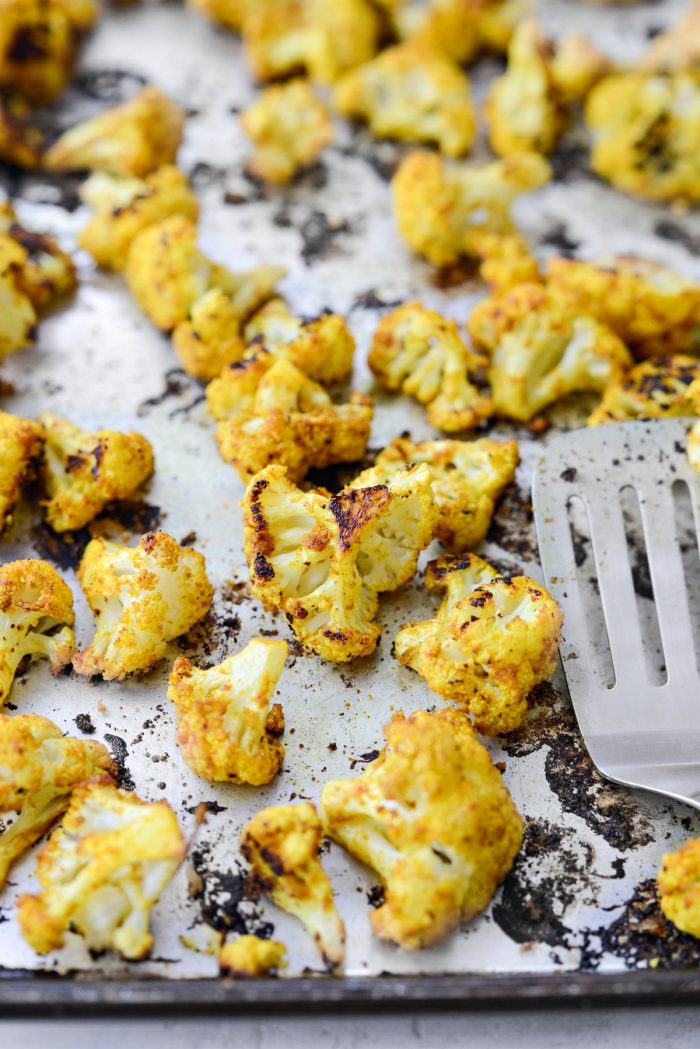 curried cauliflower after roasting