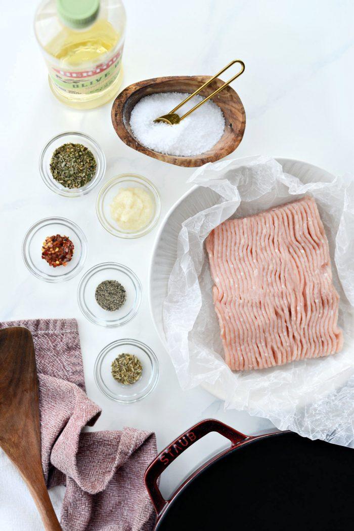 Homemade Italian Turkey Sausage ingredients