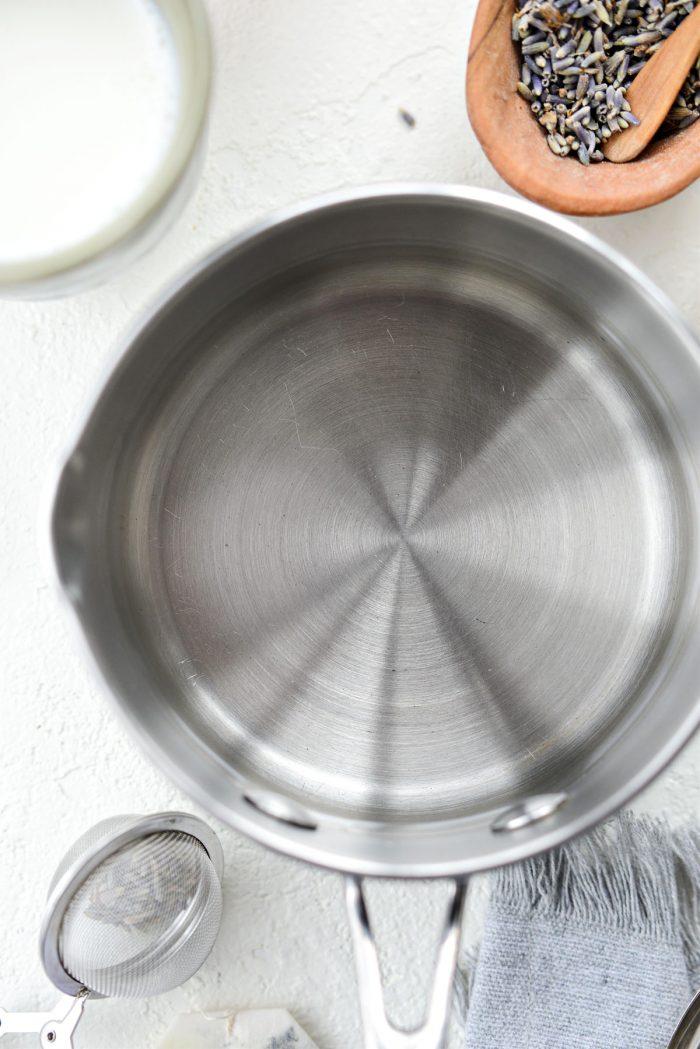 water in saucepan