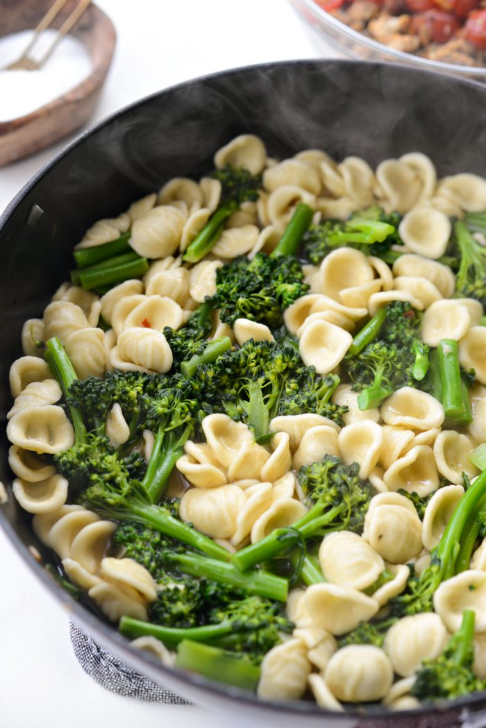 cooked broccolini and pasta.