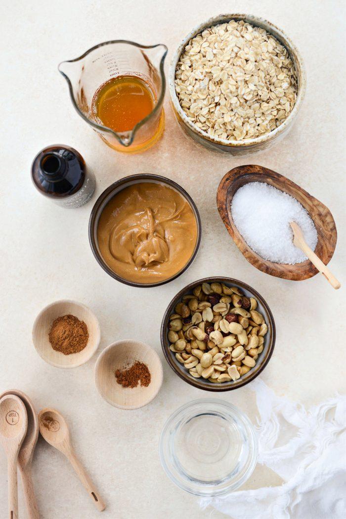 Peanut Butter Honey Granola ingredients