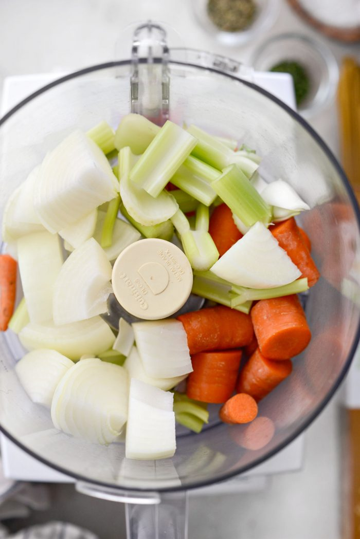 carrots, onions and celery in food processor