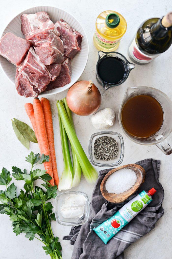 Wine Braised Pork Shoulder ingredients