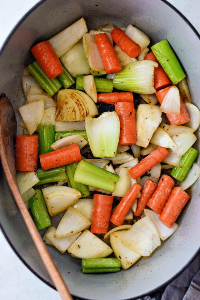 cook vegetables for a few minutes until golden brown in spots