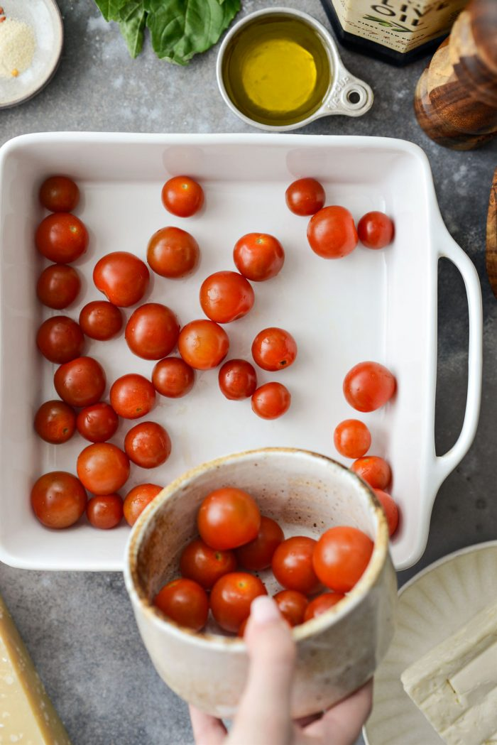 cherry tomatoes in a baking dish