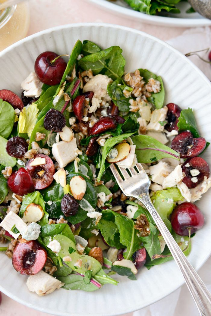 cream bowl with forkful of Cherry Winter Wheat Berry Salad