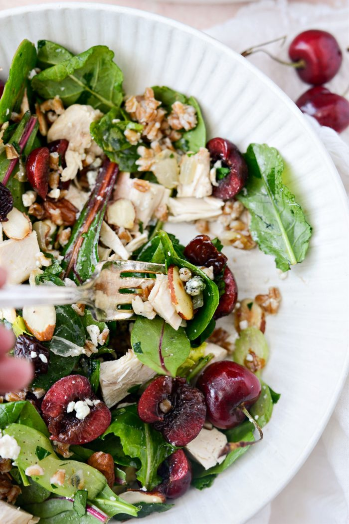 Forkful of Cherry Winter Wheat Berry Salad