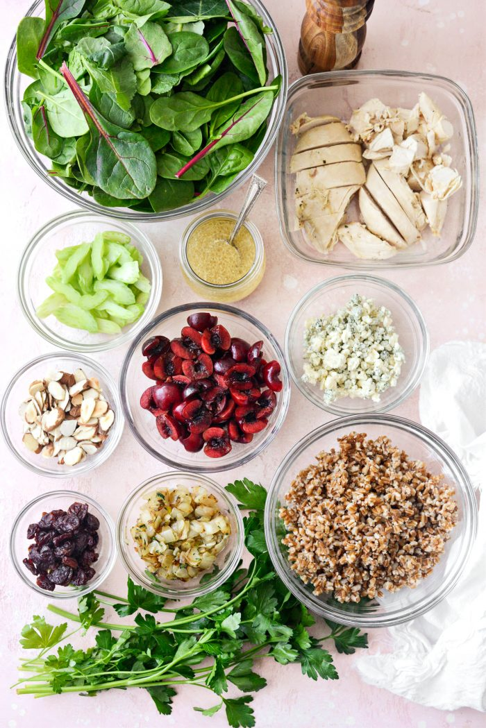 Double Cherry Winter Wheat Berry Salad ingredients