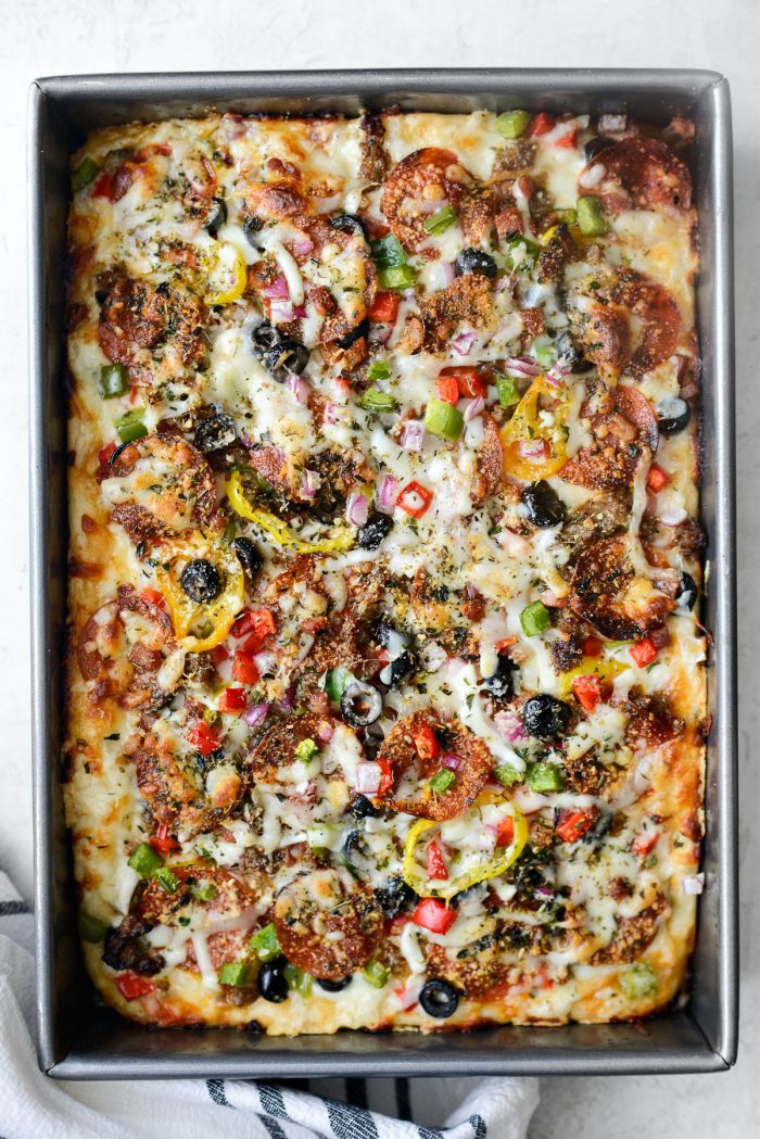Focaccia Pizza Supreme fresh from the oven.