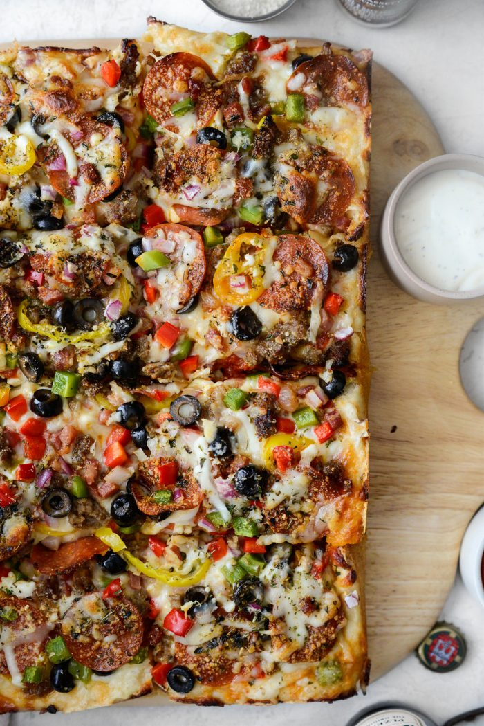 right side of Focaccia Pizza Supreme