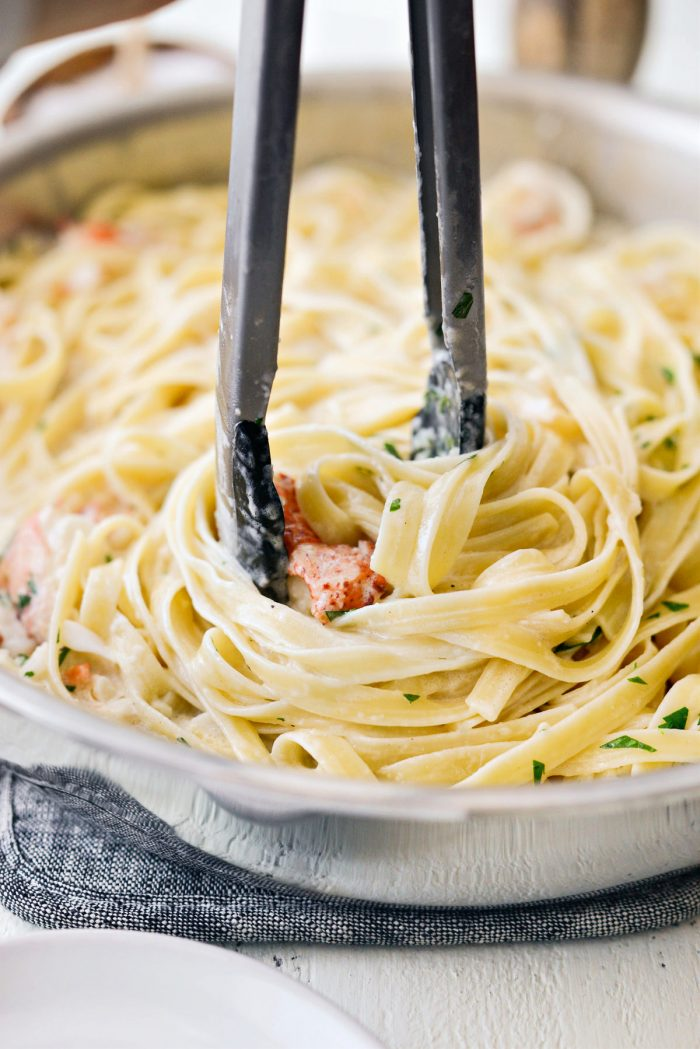 toss lobster with pasta and cream sauce.