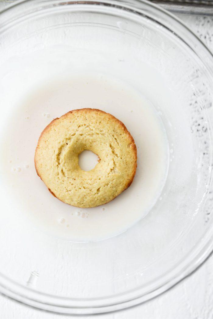 doughnut dipped in glaze