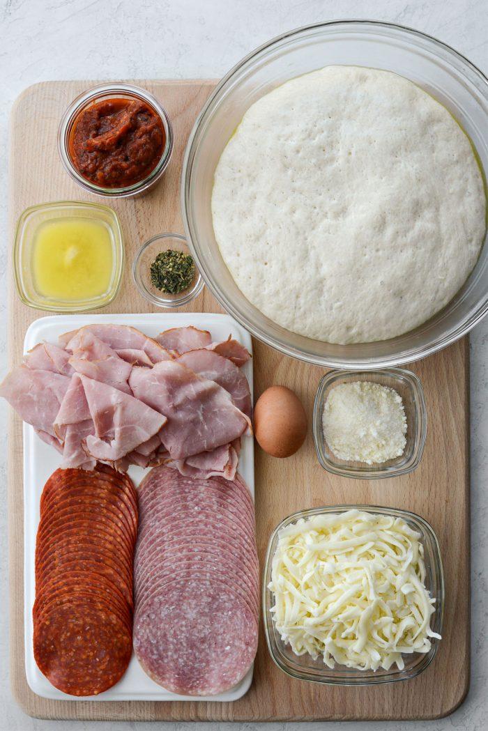 Homemade Stromboli ingredients