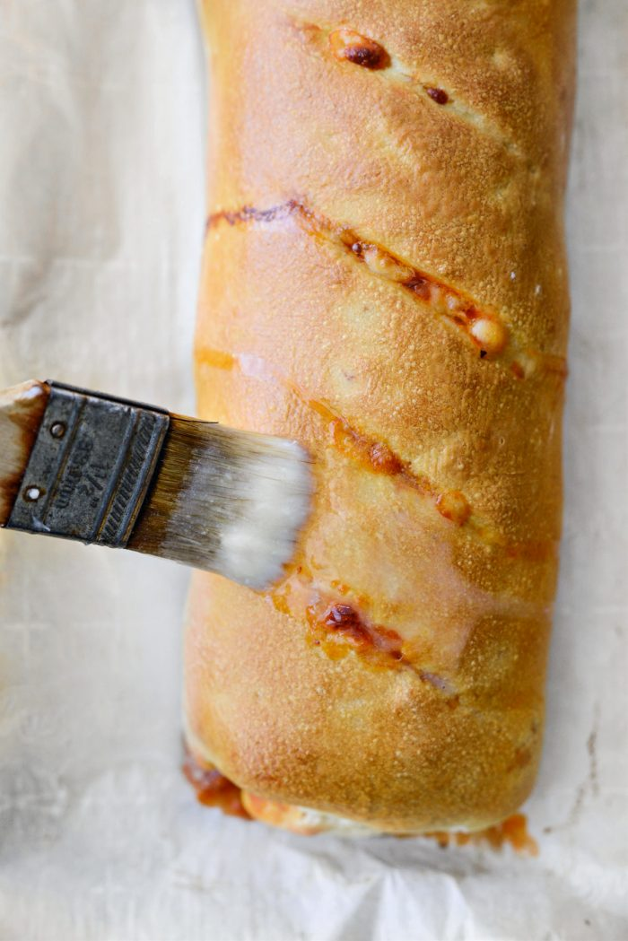 once baked, brush with butter