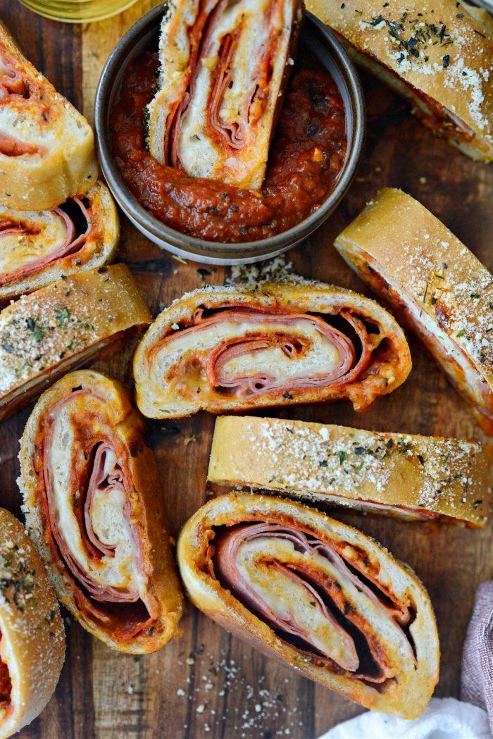 Homemade Stromboli on wooden platter