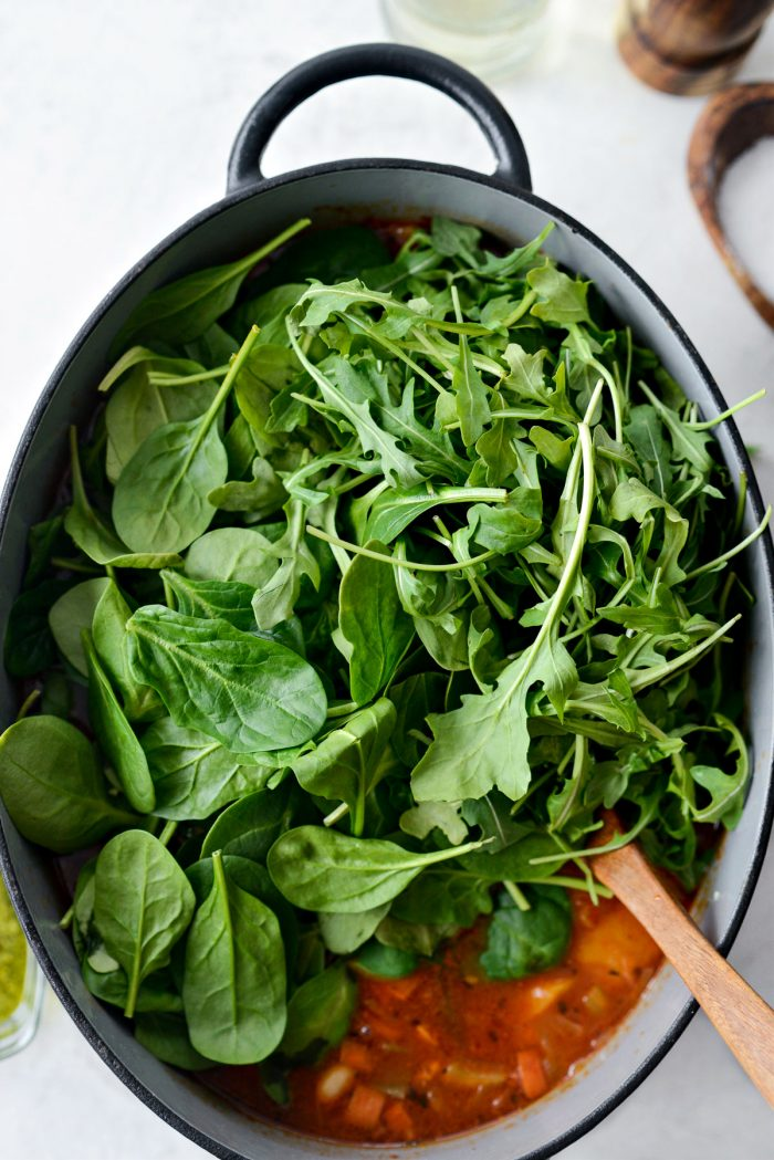 spinach and arugula added to soup