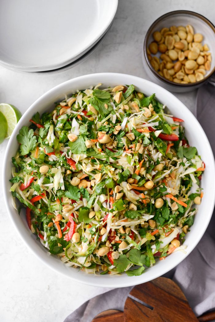 Thai Cabbage Salad in white serving bowl