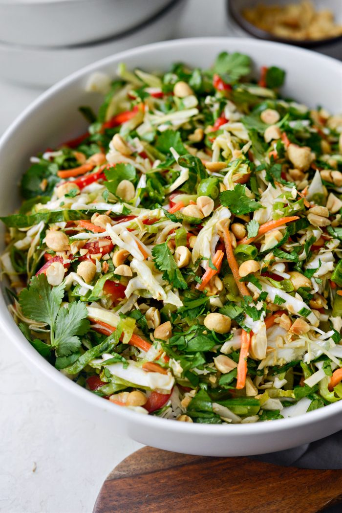 Side view of Thai Cabbage Salad