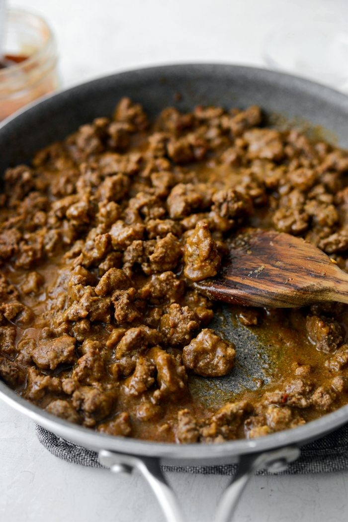 saucy taco meat in skillet