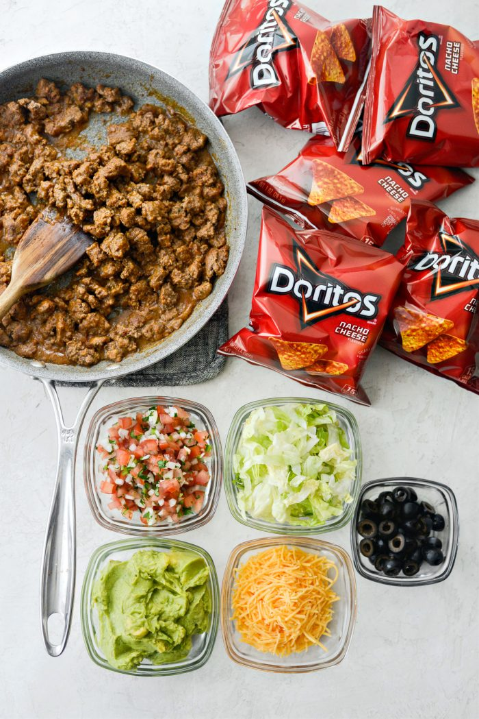 walking tacos - taco ingredients