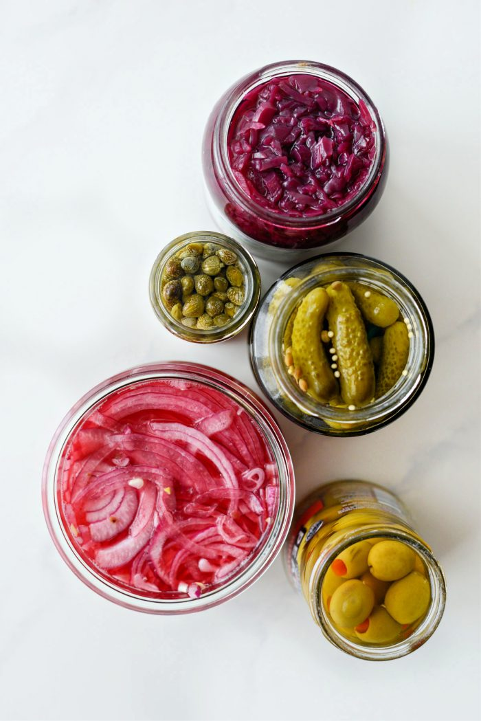 an assortment of pickled items