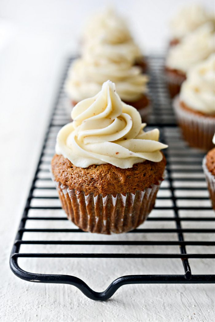 pipe or use a spatula to frost Carrot Cake Cupcakes